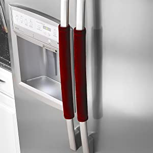 """OUGAR8 Refrigerator Door Handle Covers,Keep Your Kitchen Appliance Clean from Smudges,Fingertips,Drips&Food Stains,Perfect for Dishwashers(12"""" L3.75 W,Burgundy)"""