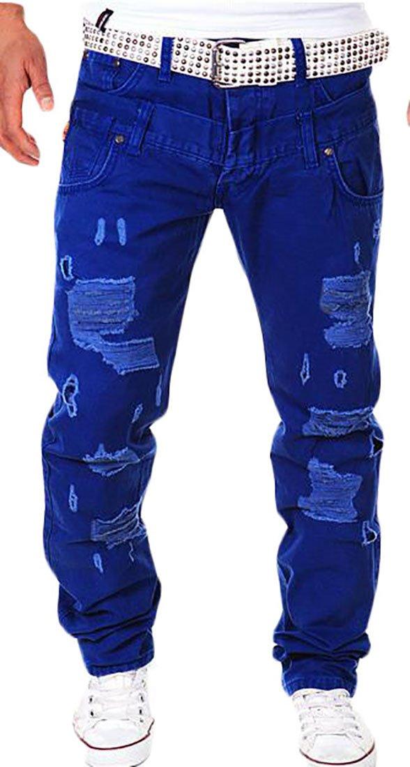 Cruiize Mens Fashion Hole Pocket High Waist Hip Hop Cargo Jogger Pants Jewelry Blue M