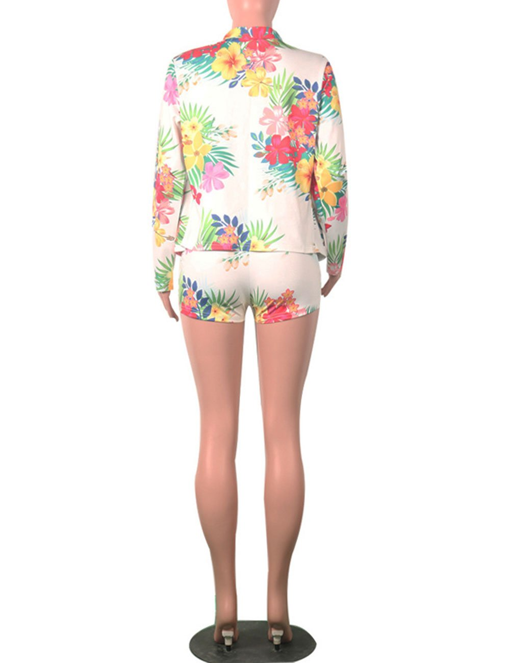 Women Floral Print Casual Two Pieces Suit Set Long Sleeve Blazer Shorts Outfit M by Angsuttc (Image #5)