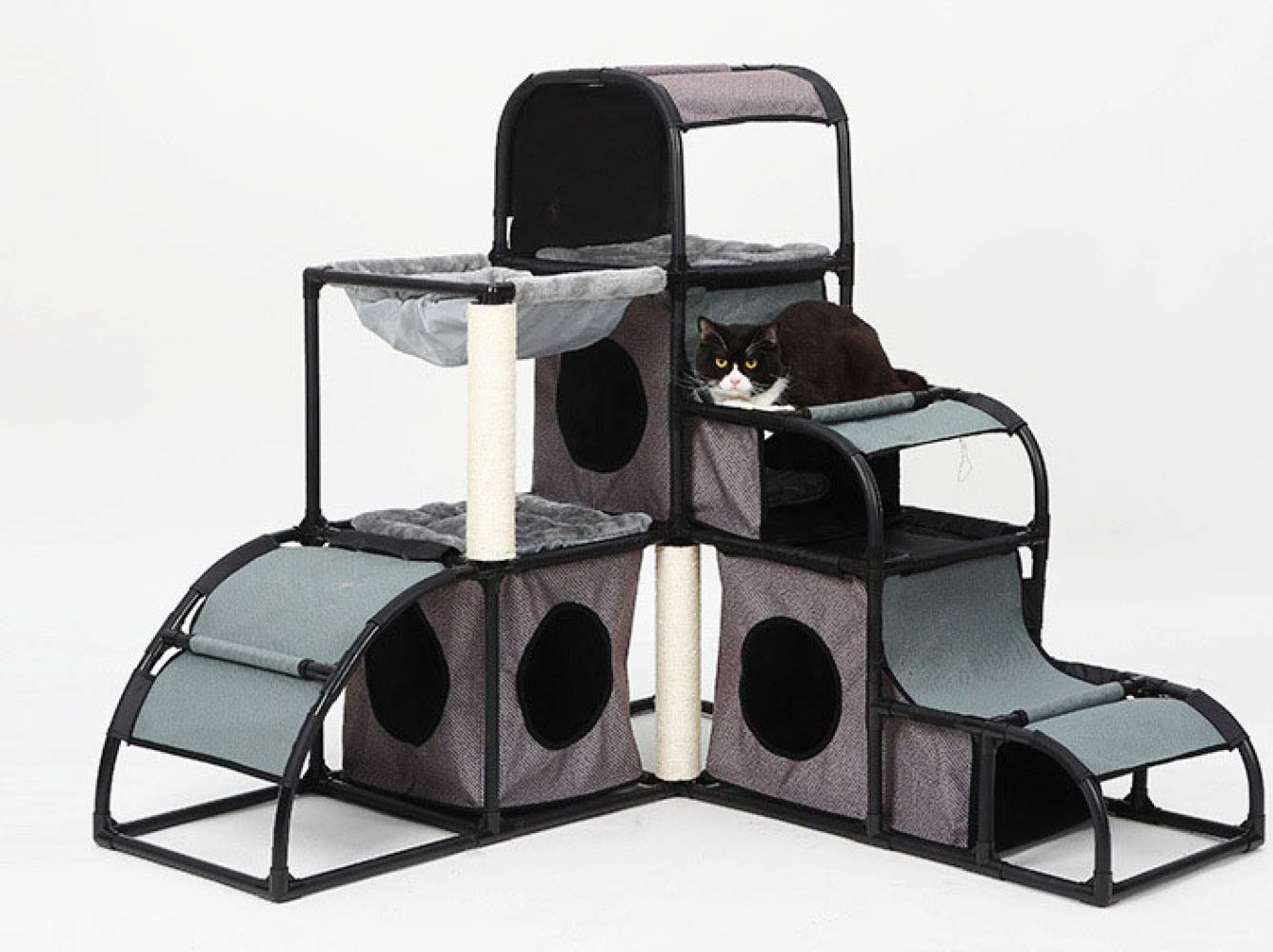Grey JXJL Cat Tree Tower Condo Furniture Scratch Post For Kittens Pet House Play,Grey