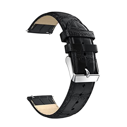 for Huawei Asus Zenwatch 2,Outsta 18mm Leather Strap Replacement Watch Band Wrist Strap (Black)