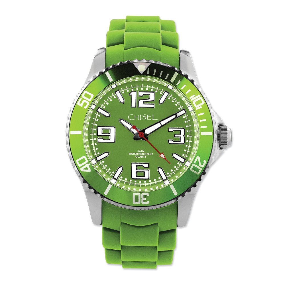 0f48eea89 Amazon.com  Mens Chisel 44mm Green Silicone Strap Watch Length 8.75 Width   Jewelry