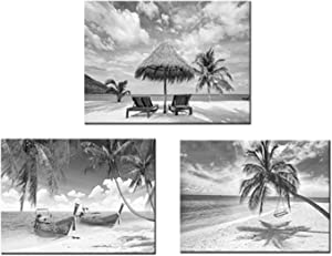 Artsbay 3 Pieces Black and White Beach Seascape Canvas Print Wall Art Decor Tropical Sea Boat Palm Trees Horizon Nature Landscape Pictures Painting Framed for Home Room Bedroom Decor Each Size 12