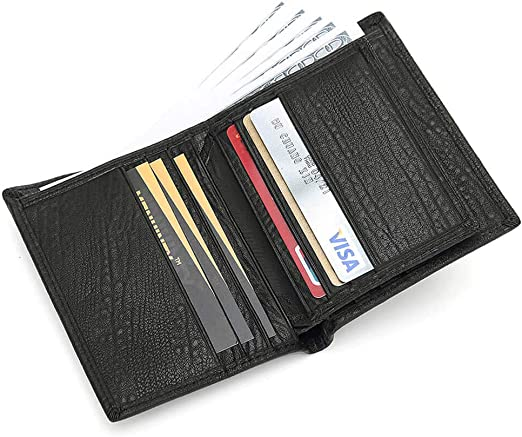 Men/'s RFID Blocking Top Grain Leather ID Window Secure Card Holder Slim Wallet
