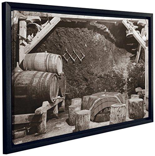 "JP London FCNV2219 Framed Gallery Wrap Heavyweight Bootleg Wine Cellar Casks Black White Canvas Wall Art, 20.375"" High x 26.375"" Wide x 1.25"" Thick"