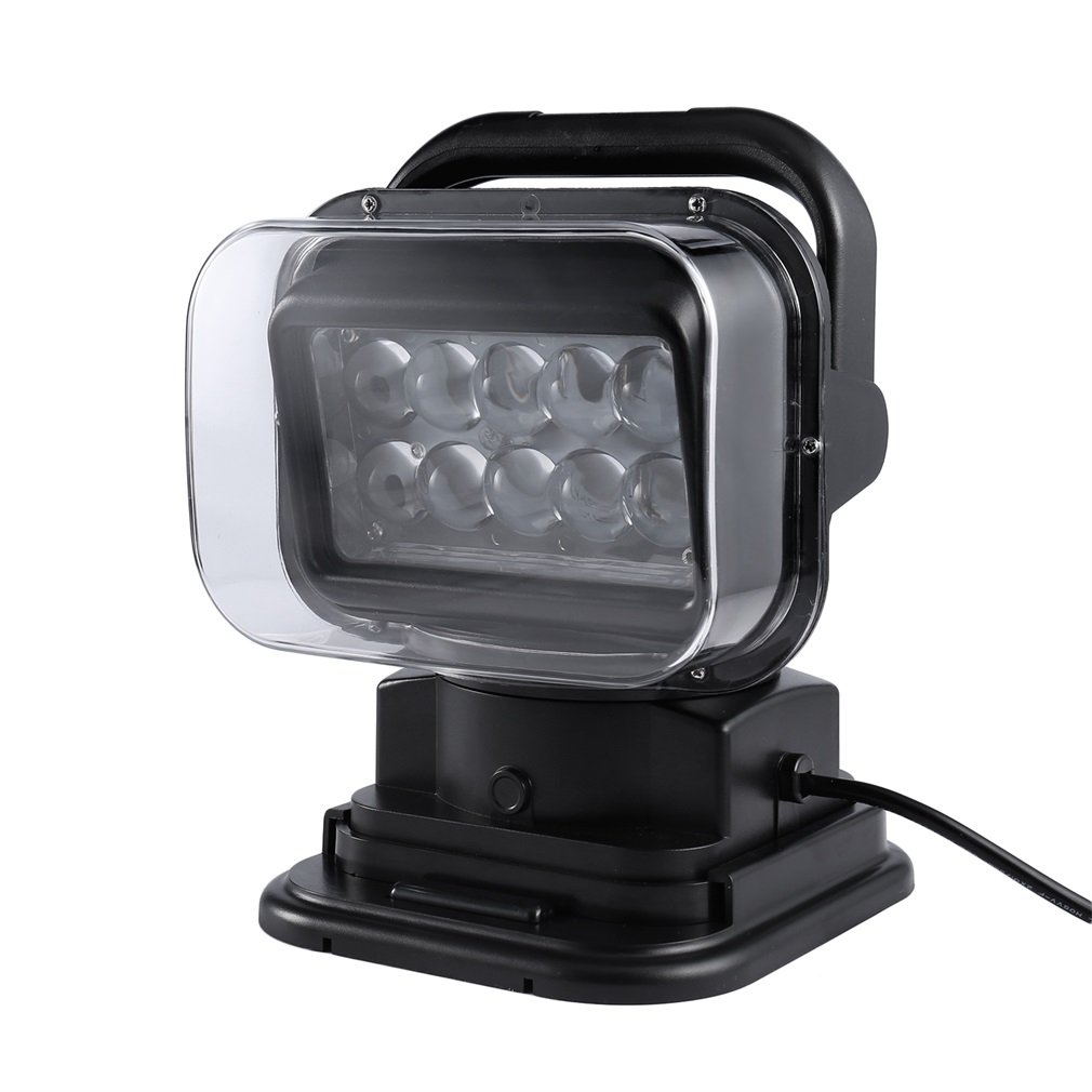 LED Search Light, ICOCO 12V 10x5W Led Portable Rotating Night Work Spot Light Back-up Light w/Remote Control, Magnet Base for Hummer Jeep Off-road Trucks Boat Home Security Emergency Lighting-Black