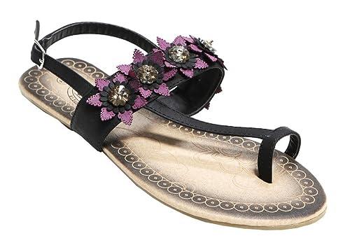 9b6818b04a8da Bolaro DF5038 Women s toe ring crystal flower decor upper slingback ankle  strap PU sandals Black 6.5