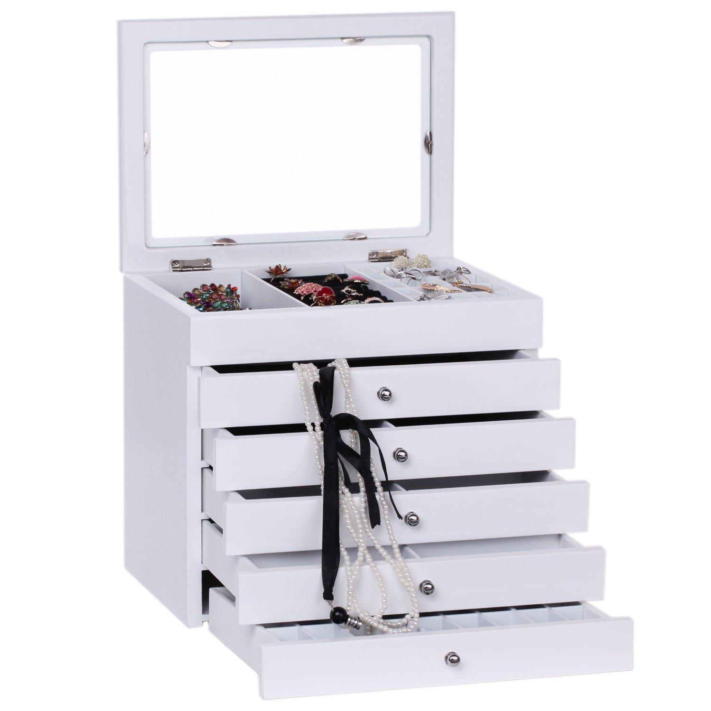 Rowling Wooden Jewellery Box Armoire Bracelet Organizer 6 Layers Glass (WHITE 2)