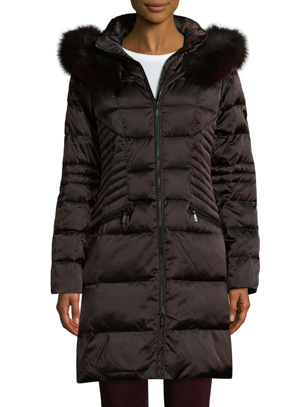 1 Madison Coat With Real Fox Fur-Black-L