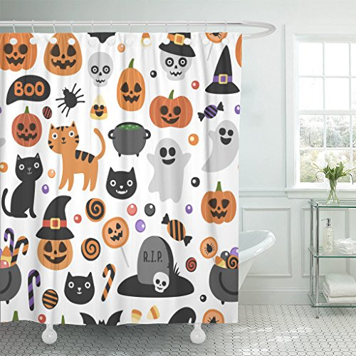 TOMPOP Shower Curtain Cute Halloween Pattern Smiling and