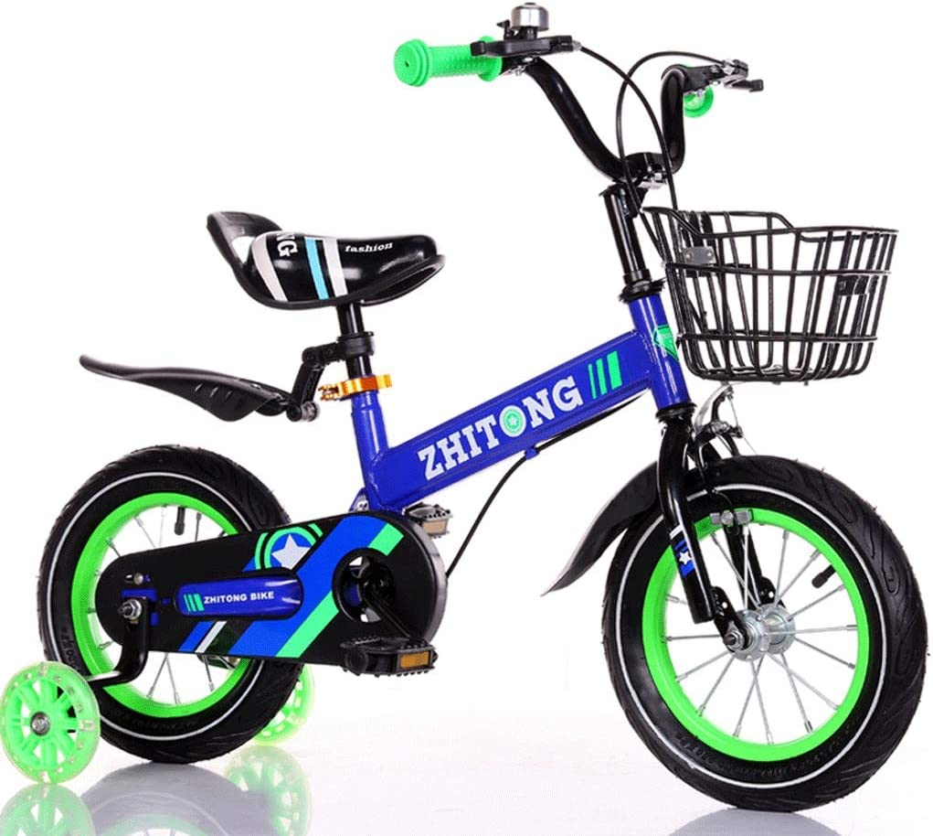 BESPORTBLE 2 Pcs Kids Bicycle Training Wheels LED Light Flashing Training Wheels Children Cycle Stabilisers Toddlers Cycling Sports Training Safety Support Green
