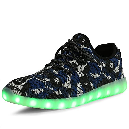 LED Shoes Men Women Camouflage Mesh Light Up LED Sport Shoes Knit Tennis Sneakers For Dance