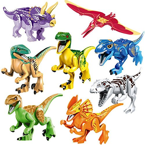 "NiceMax Dinosaur Toys, 3"" Jurassic Park Dinosaur Figures Cool Version Dinosaur Building Blocks ABS (8 Piece),Best Toy Gift Kids Ages 3yr – 6yr, 3 Years and Up"