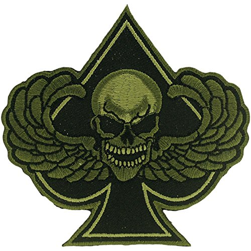 Spade Wings (Skull with Wings Spade Patch Green 3
