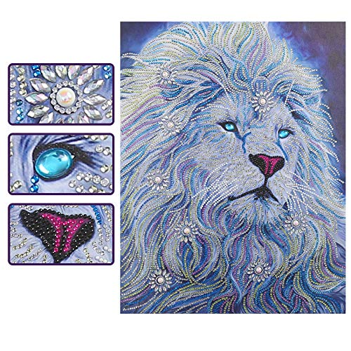 (SuperDecor 5d Diamond Painting by Number Kits Crystal Rhinestone Diamond Embroidery Paintings for Adults and Kids Home Wall Decor Special Shaped Rhinestones, Melancholy Lion 16x20 in)