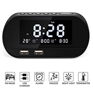 Alarm Clock Radio,Bestimulus Digital Alarm Clock with USB Charger Ports Battery Backup Dual Alarms and 6 Alarm Sounds,Dimmer LED Display,Snooze Sleep Timer,FM Clock Radio for Bedrooms