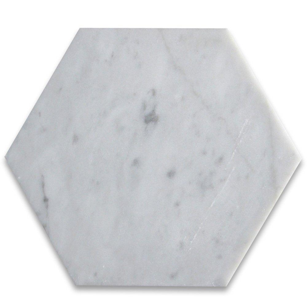 Carrara White Italian Carrera Marble Hexagon Tile 6 inch Polished - 100 pcs
