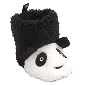 Iuhan Lovely PANDA Baby Soft Sole Snow Boots Soft Crib Shoes Toddler Boots (Age:6~12M, Black)