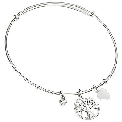 Sterling Silver Cubic Zirconia Love Heart Dangle Charm Bangle Bracelet, Adjustable 7