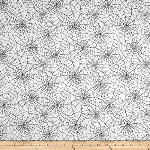 Patrick Lose Fabrics Studio Happy Halloween A Tangled Web Fabric, White, Fabric By The Yard