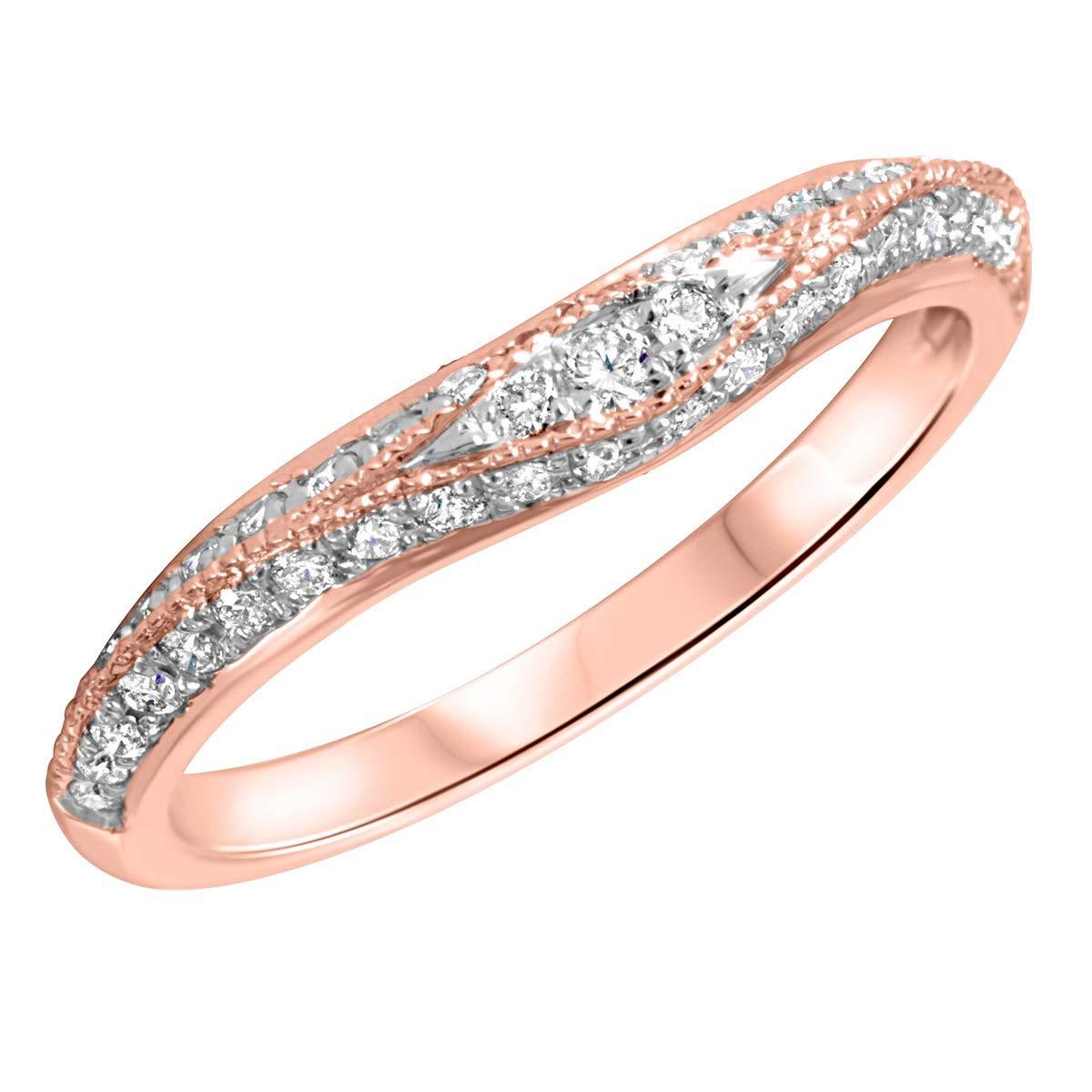 0.30 Ct Round Cut Simulated Diamond Milgrain Wedding Band 14k Real Gold