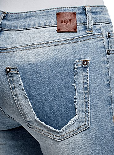 Donna Con Spruzzi Ultra Skinny Oodji 7000w Blu Stampa Jeans 1Rw4x55qB