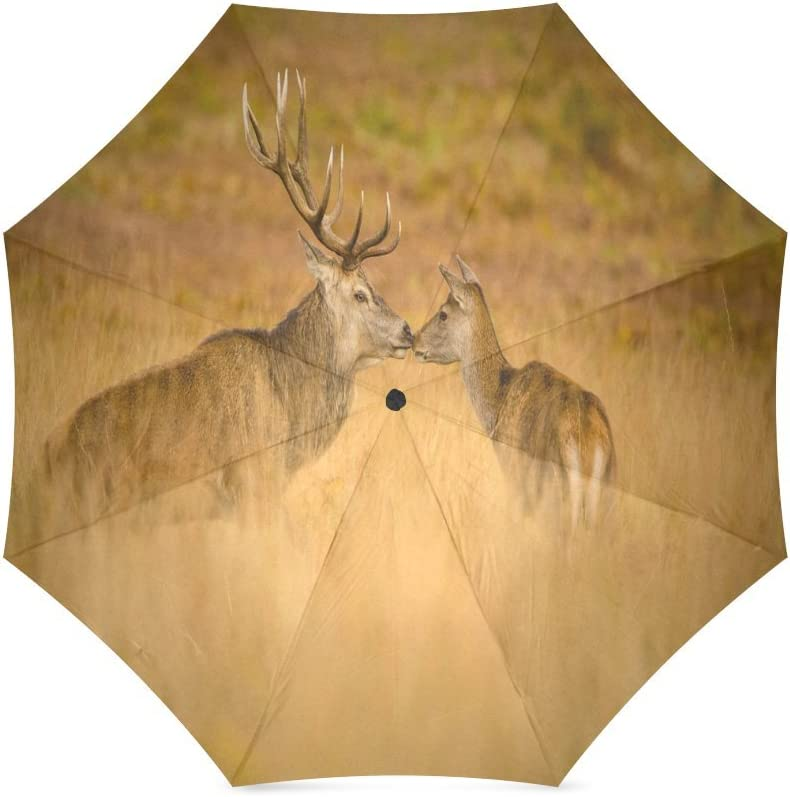 Custom Cute Deer Compact Travel Windproof Rainproof Foldable Umbrella