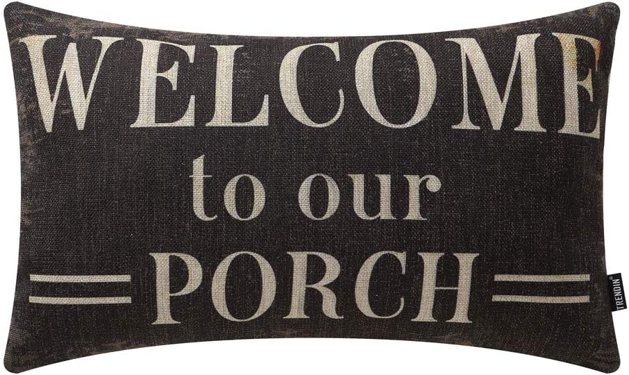 TRENDIN Decorative Throw Pillow Cover 20x12 inch Black Welcome to Our Porch Cushion Case Rectangular Shape PL347TR
