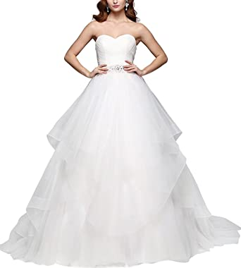 Simple Strapless Bridal Dress Long Wedding Dresses Plus Size Ball
