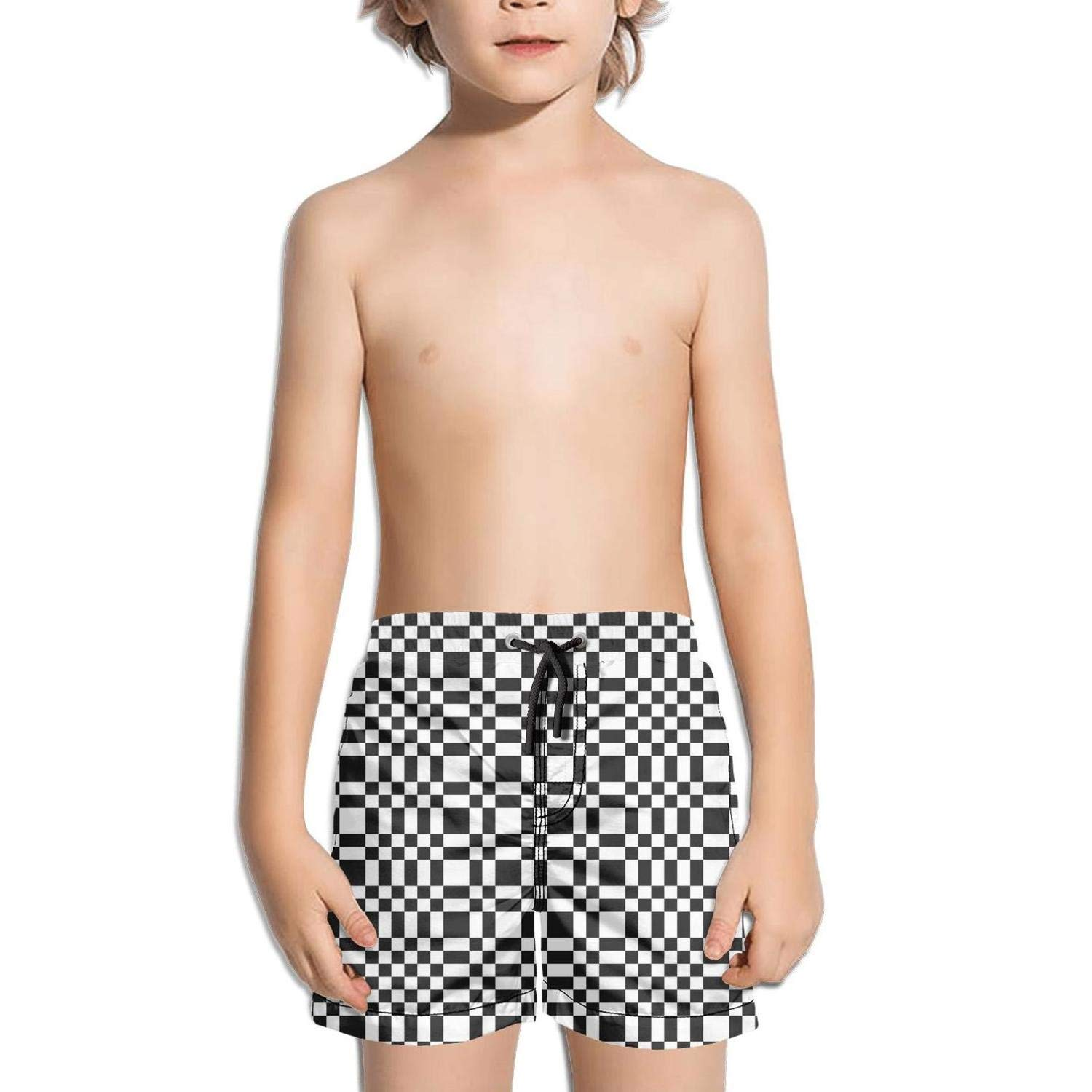 Abstract Black and White Minimal Chequered Effect Fully Lined Solid Board Swimming Trunks Shorts