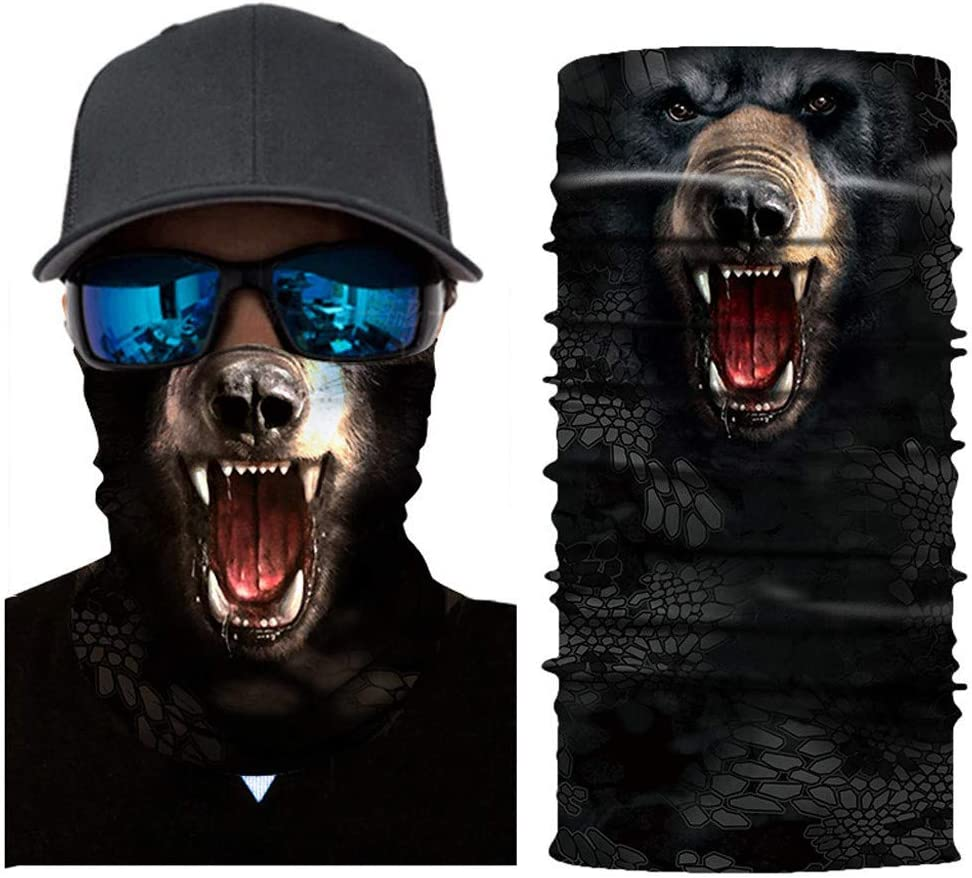 ZURQV Lightweight Seamless Multifunction Outdoor Sports Motorcycle Fashion Design 3D Animal Print Cycling Cover