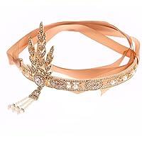 MAYEVER Vintage 1920s Flapper Gatsby Accessories Leaf Pearl Headband Roaring 20s Wedding Headpiece