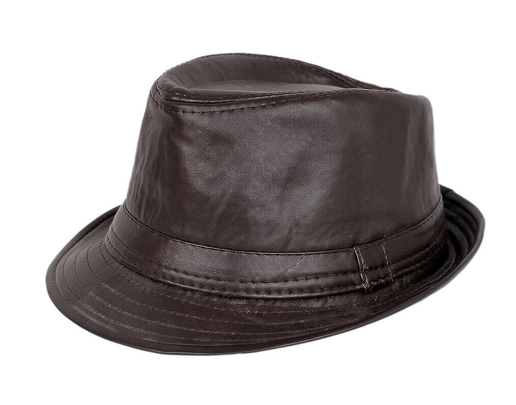 Krystle Unisex Imported Stylish Fashionable Cowboy Leather Fedora Hat Brown