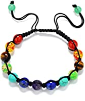 Gogolan Womens Mens Beaded Bracelets Stone Lava Rock Healing Balance Round Braided