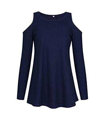 c9806f3b308 NiSeng Women Cold Shoulder Baggy Shirt Long Sleeves Top Off Shoulder  Blouses Dark Blue XL  Amazon.co.uk  Clothing
