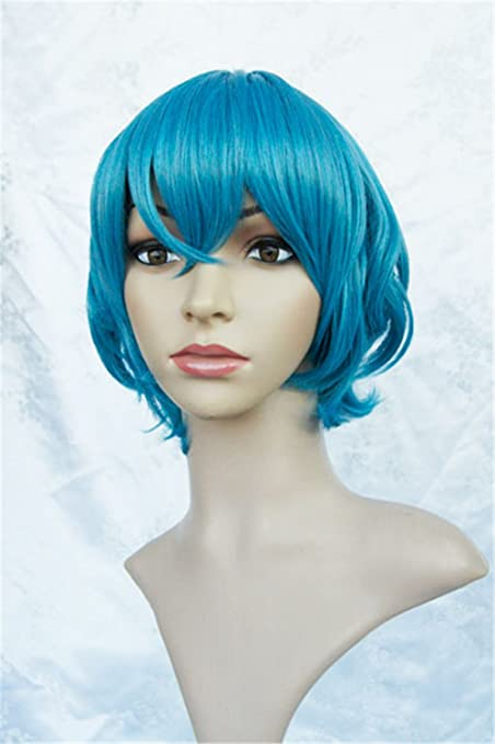 LanTing Cosplay Peluca STARRY SKY Mizushima Iku Blue Short Cosplay Party Fashion Anime Human Costume Full