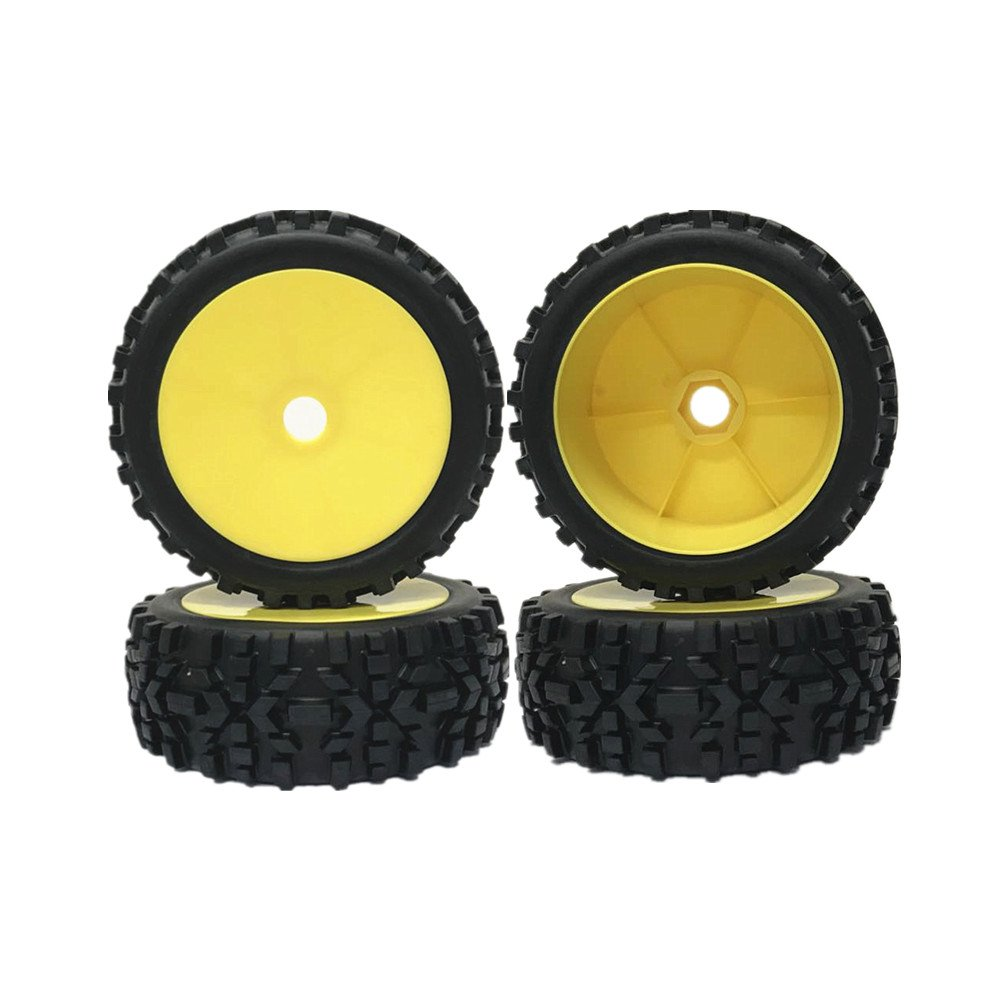IFLYRC RC 1/8 Off-Road Tyre Wheel Rim 17mm Hexagonal Joint Wheel Rim Yellow &Rubber Tires Black for Off-Road Racing Car(Set of 4)