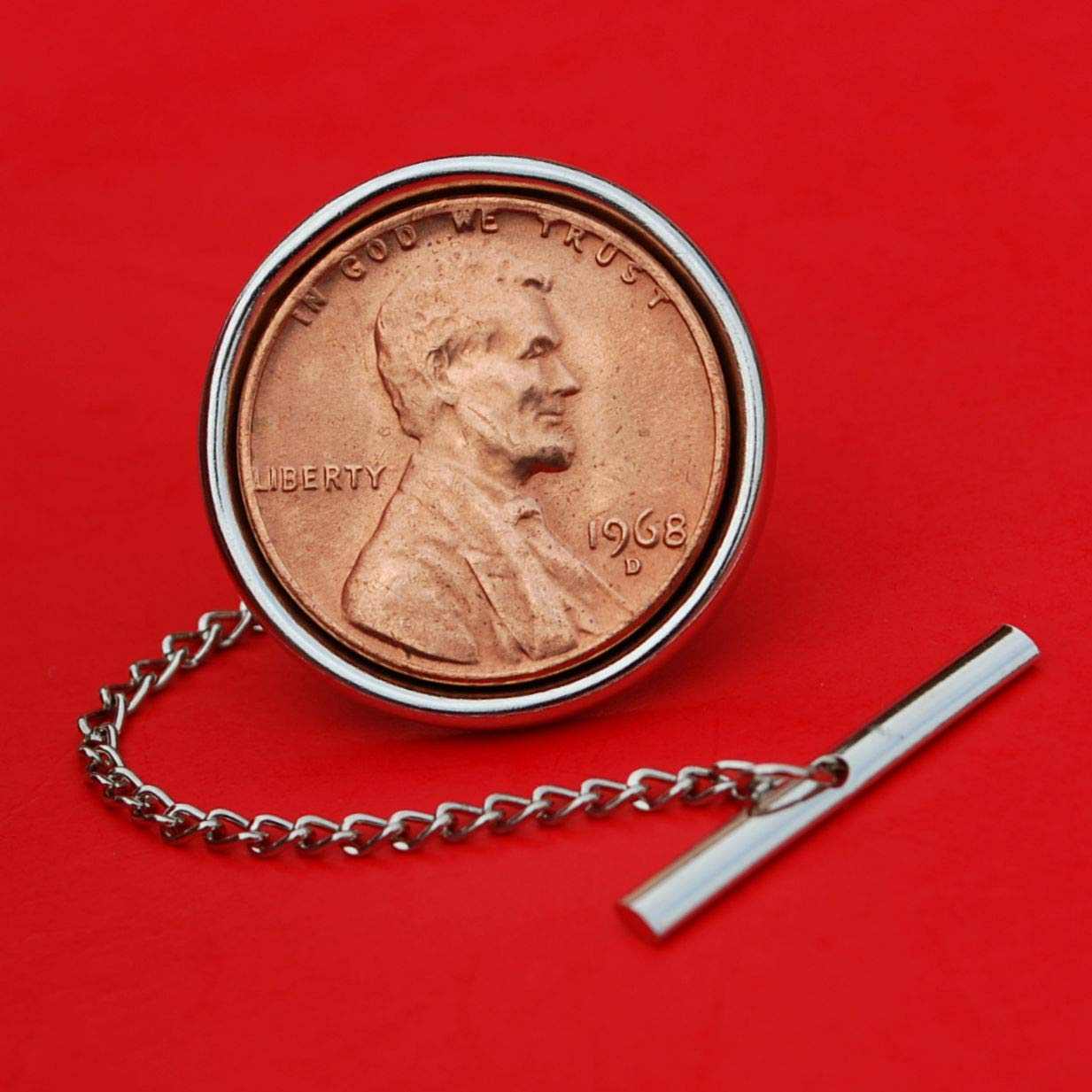 US 1968 Lincoln Penny Small Cent BU Uncirculated Coin Silver Plated Tie Tac Tack Pin NEW