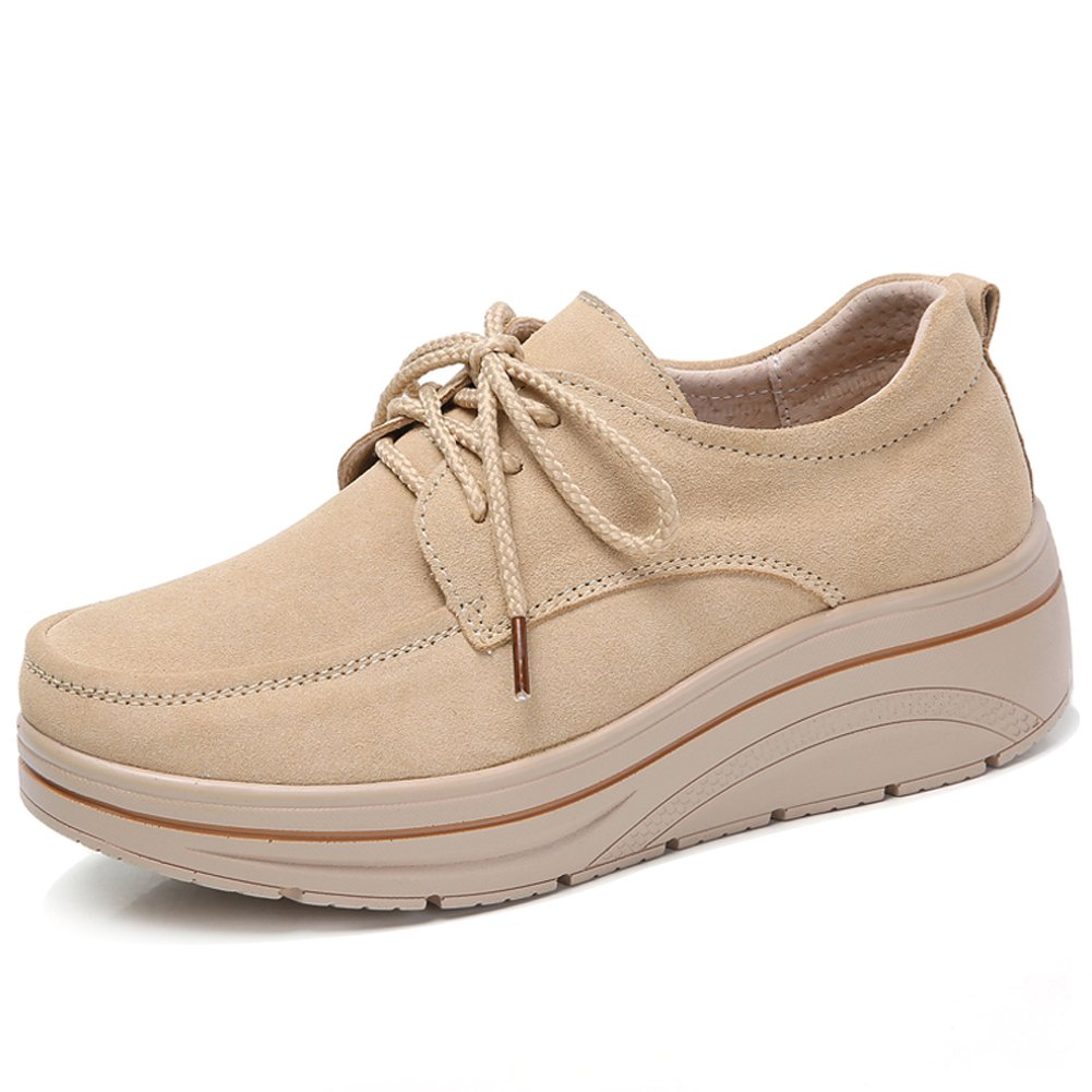 Womens Wide Suede Platform Wedge Oxford Sneakers Lace Up Comfortable Work Shoes Tan 7.5 US MH3929xingse38