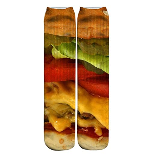 Doxi Hamburger Snacks 3D Printing Style Wild Fashion Harajuku Calcetines Stockings