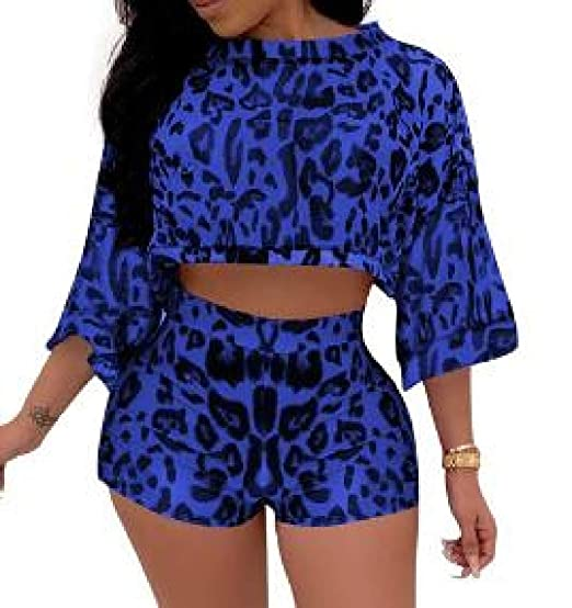 545874842e3e2 BLTR Women Printed Tracksuit Batwing Sleeve Club 2 PCS Outfits Crop Top  Shorts Set at Amazon Women s Clothing store