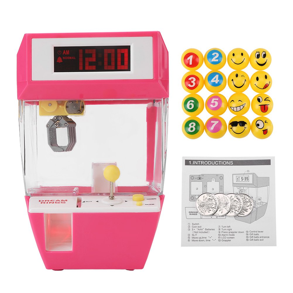 Electronic Crane Grabber Machine Toy Mini Funny Creative 2 in 1 LCD Display Alarm Clock Electronic Claw Toy Kids Children Gifts(Rose Red)