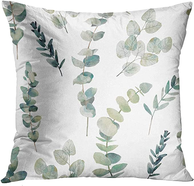 Emvency Throw Pillow Covers Decorative Green Leaf Watercolor Eucalyptus Branches Hand Floral With Plant Objects On White Natural Greenery Twig 20x20 Inch Cushion Pillowcase Sofa Square Print Home Kitchen