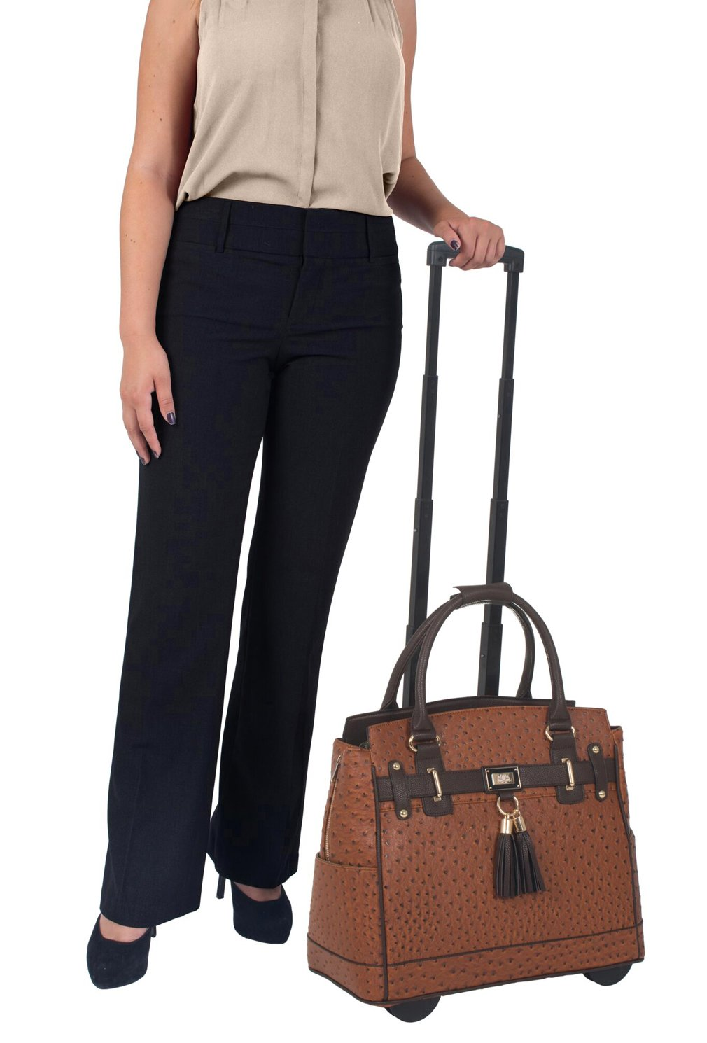 LESS THAN PERFECT - ''The Uptown'' Ostrich Computer iPad, Laptop Tablet Rolling Tote Bag Briefcase Carryall Bag