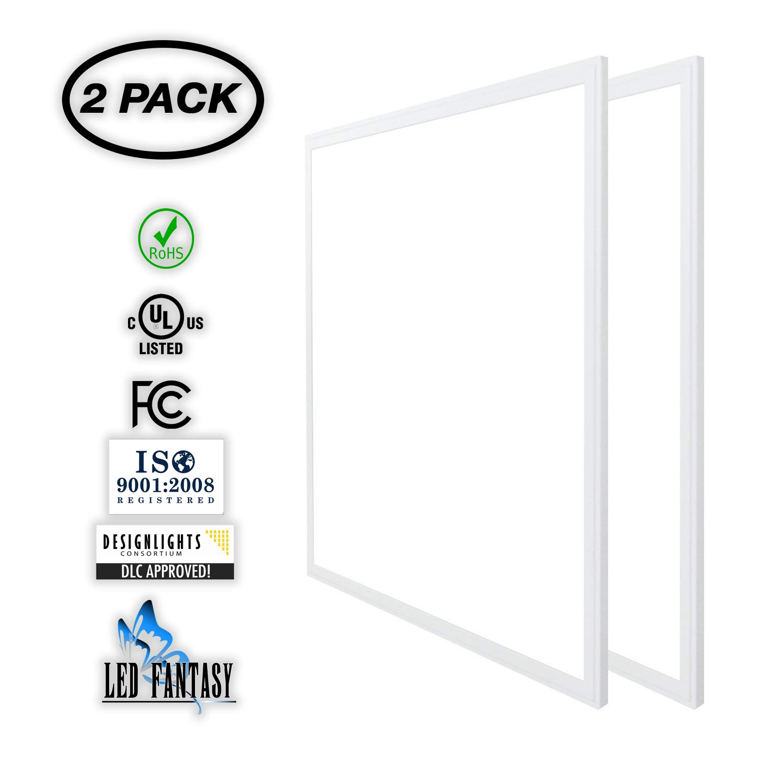LED Fantasy 2x2 FT LED Panel Dimmable 0-10V, 40W (120W Equivalent), 5000K Daylight White,DLC & UL 2 Pack