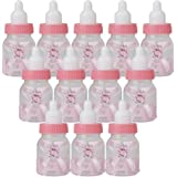 Lot de 12pcs Petite Bouteille de Bonbons Forme de Biberon Cadeau Décoration pour Fête de Naissance Rose