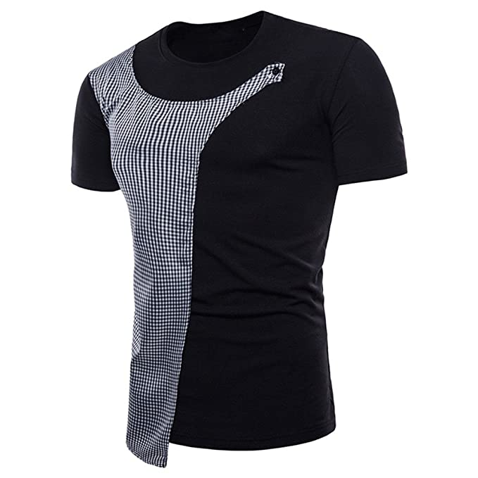 d93627f7a731 BURFLY Personalisiertes T-Shirt Herren Kurzarm-Shirt Muscle Slim Fit Hemd  Kariertes Bluse Oberteil