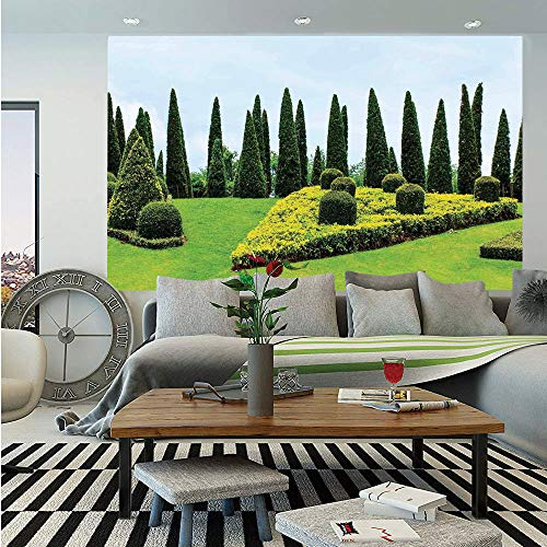 Country Home Decor Wall Mural,Classic Formal Designed Garden with Evergreen Shrubs Boxwood Topiaries,Self-Adhesive Large Wallpaper for Home Decor 55x78 inches,