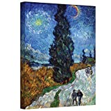 Art Wall Country Road in Provence by Night by Vincent Van Gogh Gallery Wrapped Canvas, 24 by 32-Inch