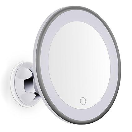 Espejo Bano Aumento Con Luz.Bornku Espejo Maquillaje Con Luz De Aumento 7x B60 Led Ajustable Espejos Bano Y Cosmetico Y Afeitar Con Ventosa